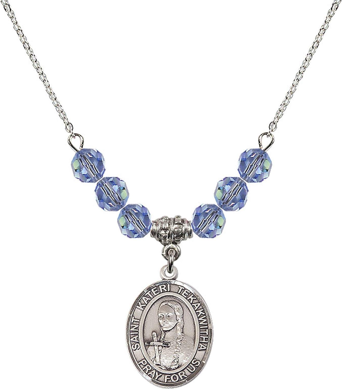 Bonyak Jewelry 18 Inch Rhodium Plated Necklace w// 6mm Light Blue September Birth Month Stone Beads and Saint Kateri Tekakw//a Charm