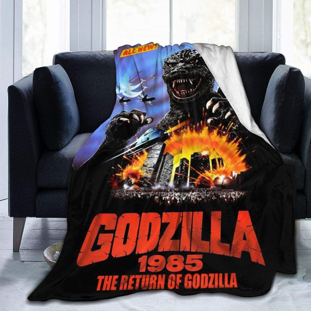 Rustic Fleece Bed Blankets, The Return of Godzilla Monsters 1985 Movie Poster Decorative Throw Blankets, Washable Super Cozy Cute Blanket Fit Dad Hotel Preschool