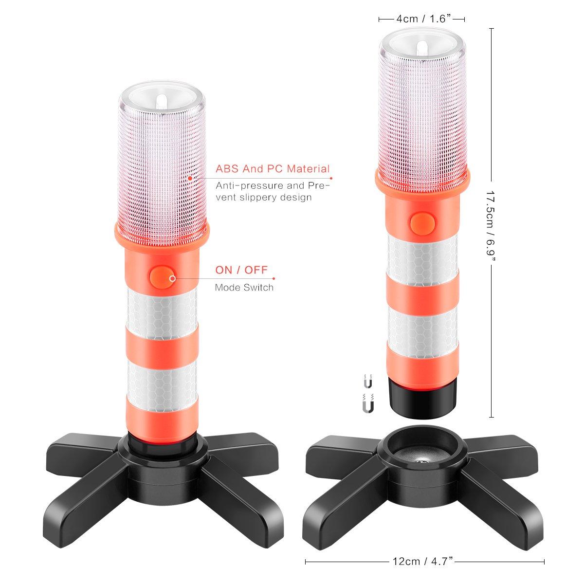 ALLOMN Linterna de Carretera 2 PCS Luz Estrobosc/ópica de Seguridad Tres Modos Luz de Advertencia de Tr/áfico Luz Antirrobos de Seguridad para Carretera Luz Estrobosc/ópica de Emergencia SOS