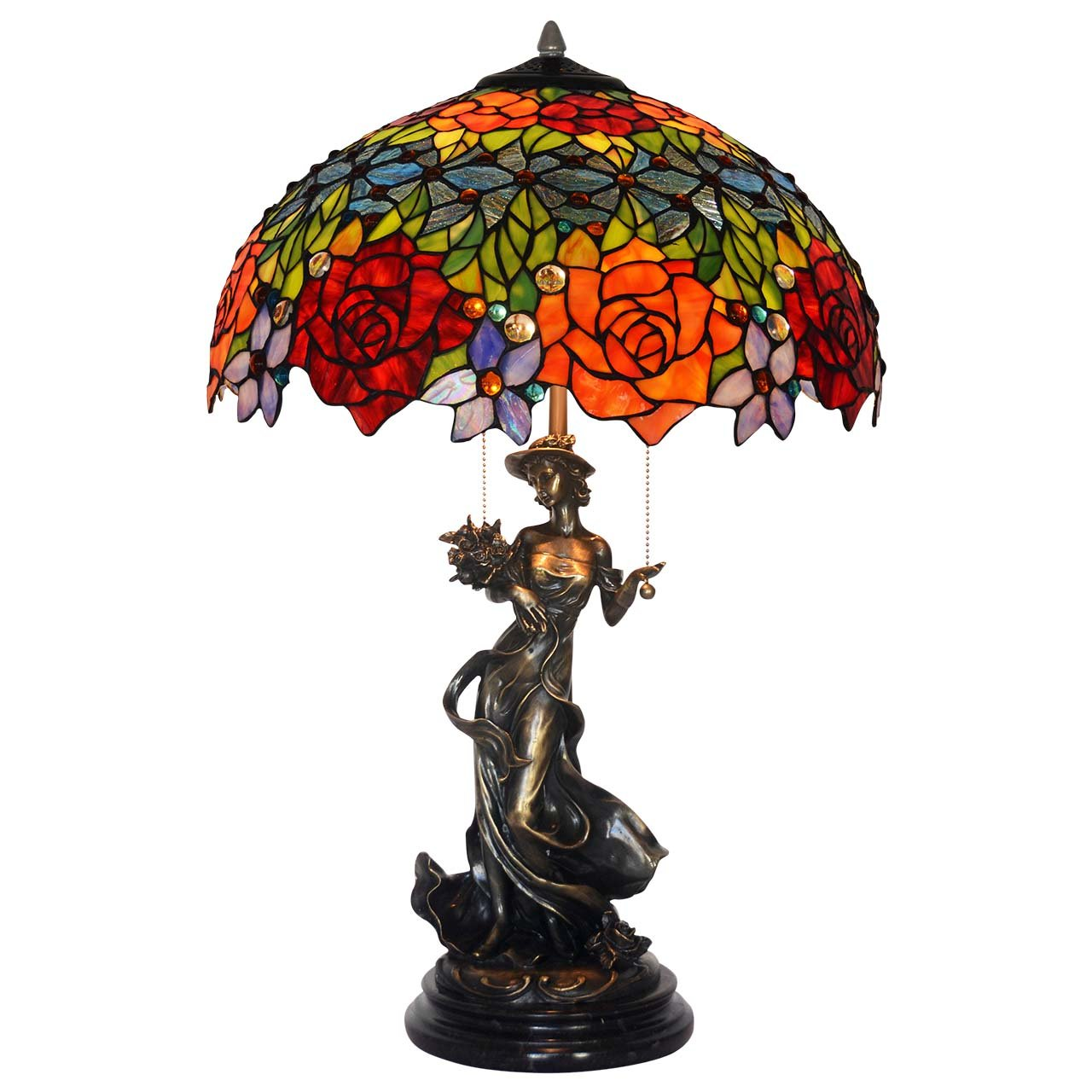Bieye L10443 18-inches Rose Tiffany Style Stained Glass Table Lamp with 100% Brass Beautiful Girl Base