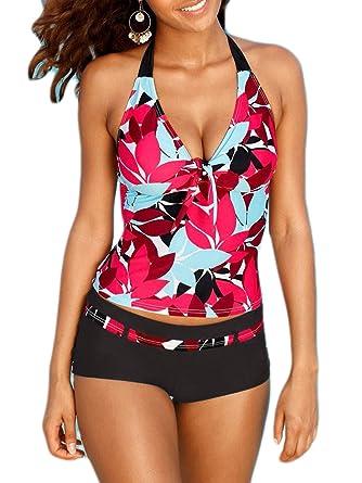 Azue Damen Mädchen Tankini 2 Teilig Badeanzug mit Shorts Bauchweg Bademode  Oversize Schwimmanzüge Blume XL d46c1ab495