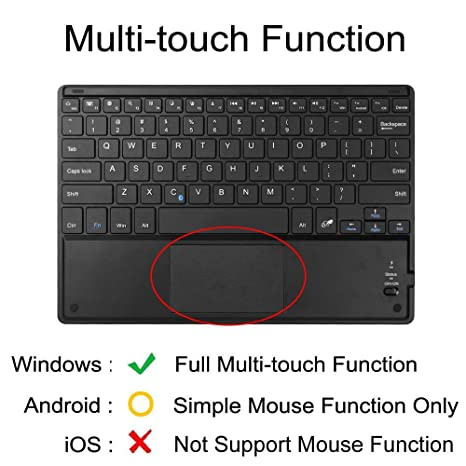 Fintie Ultrathin 4mm Wireless Bluetooth Keyboard with Built-In Multi-Touch  Touchpad for iPad, iPhone, Samsung Galaxy, Google Nexus, Microsoft Surface,
