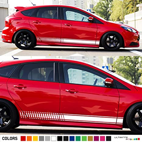 2x lowered side stripes decal sticker vinyl kit compatible with ford focus rs st hatchback