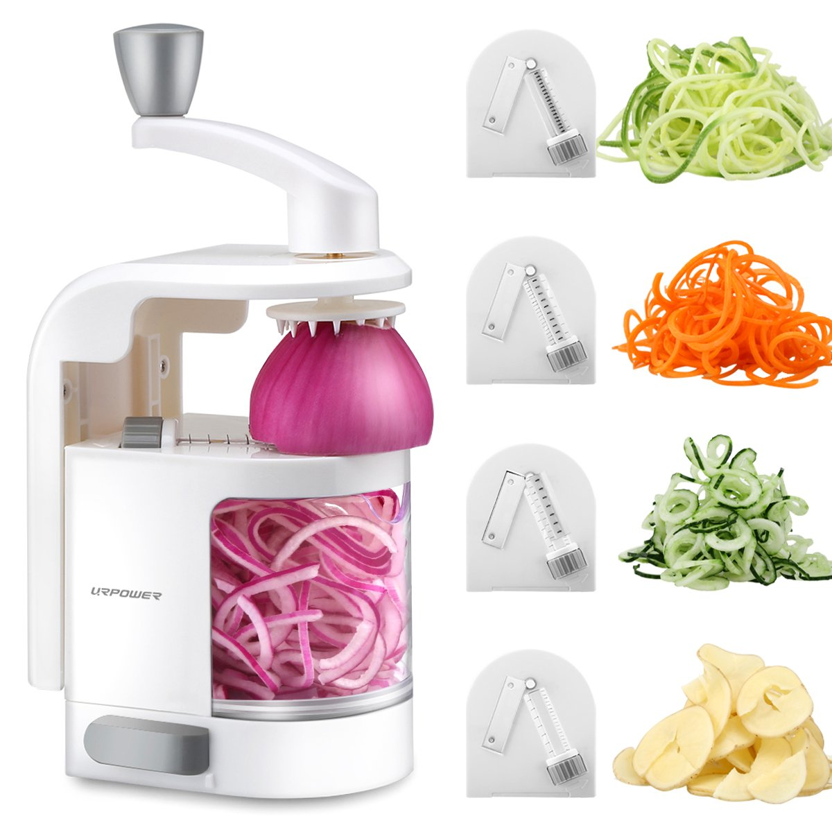 URPOWER Spiralizer Vegetable Slicer 4-Blade Vegetable Spiralizer, Veggie Pasta Spaghetti Maker, Perfect for Salad, Zucchini Noodles, Pasta and Cut Vegetables, Make Low Carb/Paleo/Gluten-Free Meals by URPOWER