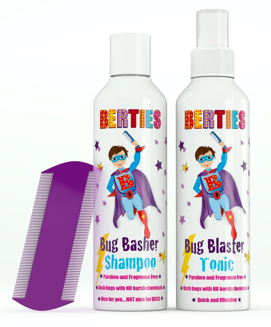 Bertie's Bug Basher - Natural Head Lice Tonic and Shampoo For Children - Head Lice Comb Included Bug Basher Ltd