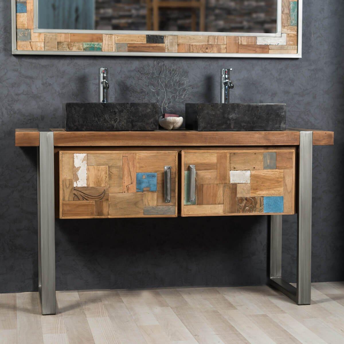 Mueble doble para cuarto de baño factory teca metal 140 cm ...