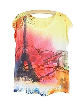 1598da99dcd2 Yue Lian Damen Rundhals Locker T-Shirt Eiffelturm Muster Top Sommer Kurzarm  Hemd Oberteil(