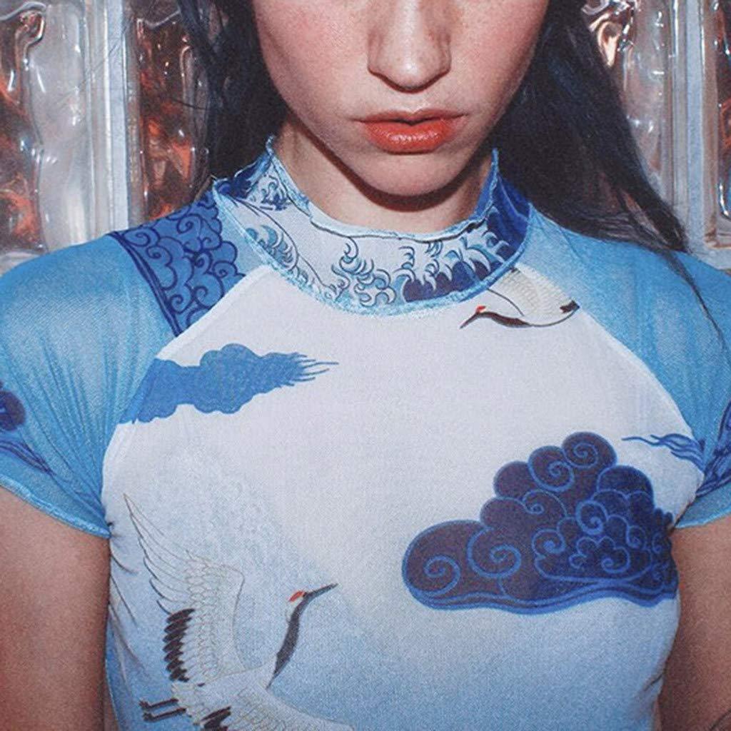 Naladoo New Women Sexy Elegant T-Shirt Transparent Short Sleeve Tank Tops Blouse Blue by Naladoo Women's Tops, Tees & Blouses (Image #3)
