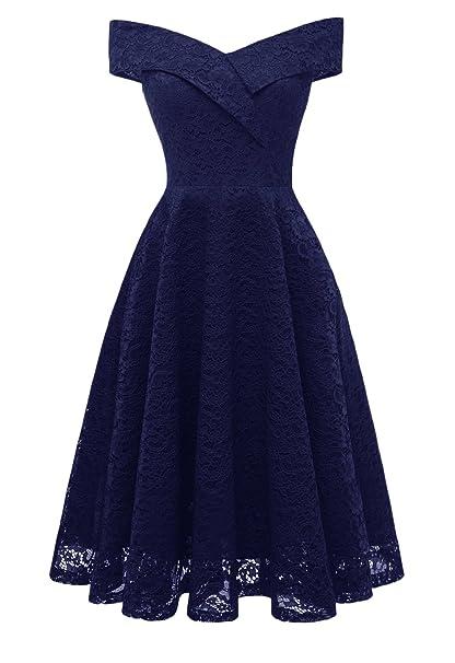 Vestidos Verano Mujer Vestidos De Fiesta Elegantes Hombro Descubierto Ropa Dama Moderno Cuello Barco Encaje Vestido