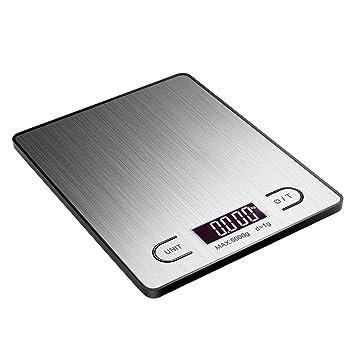 TOPELEK Báscula de Cocina Digital, báscula Cocina Escala Digital (Acero Inoxidable, Balance Capacidad
