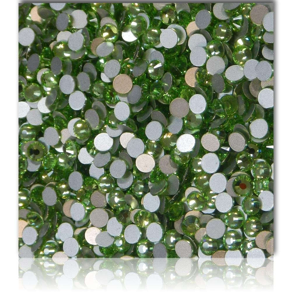 "100% Custom Made (Assorted) 1200 Bulk Pieces of Mini Size ""Glue-On"" Flatback Embellishments for Decorating, Made of Acrylic Resin w/ Shiny Iridescent Crafting Rhinestone Crystal Jade Style {Green}"
