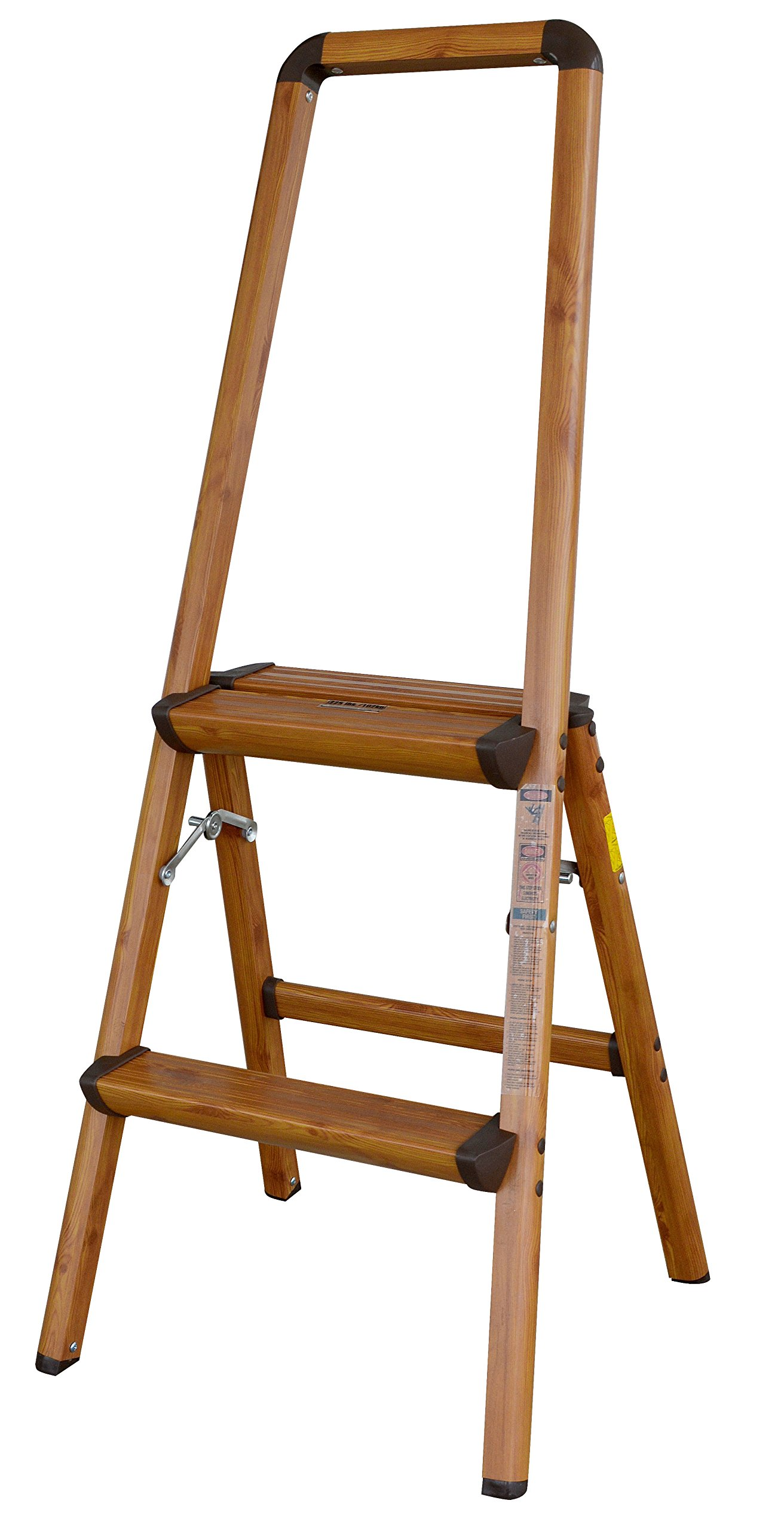 AmeriHome 700367 Lightweight Aluminum Step Ladder, 2 Step, Faux Wood Finish
