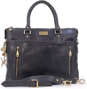 Catwalk Collection Handbags - Ladies Leather Briefcase Cross Body Bag - Women's Organiser Work Bag - Tablet/Laptop Bag - ADELE