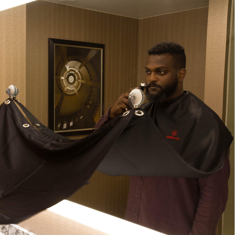 Beard Bib Kit (9pcs) - Shaving/Grooming Cape w/Strong Suction Cups, Beard Trimming Shaping Tool, Beard/Mustache Scissors, Sandalwood Beard Comb - Beard Trimmer Apron - Hair Catcher for Sink (Black) Aberlite