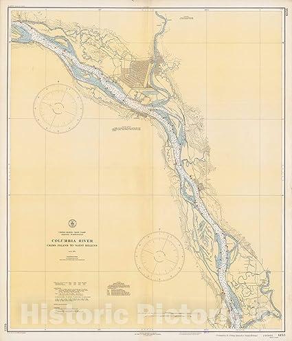 Amazoncom Historic Map Columbia River Crims Island To Saint - Columbia-river-map-us