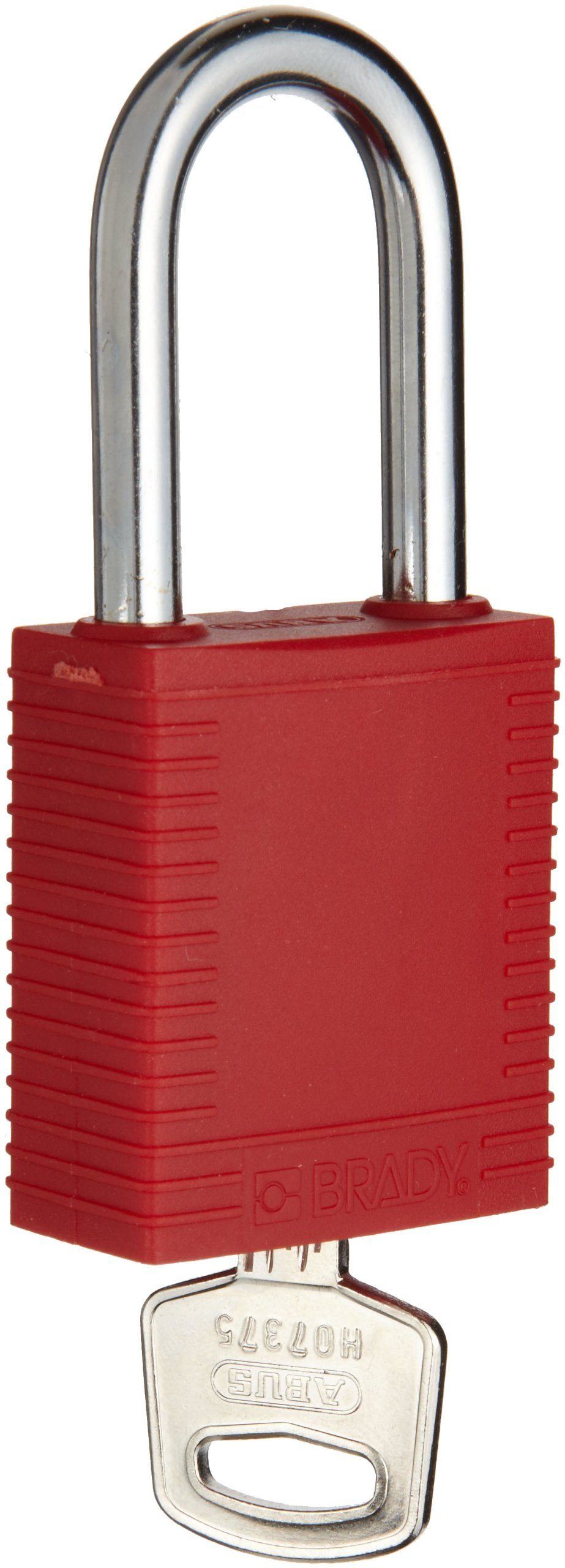 Brady Plastic Lockout/Tagout Padlock, Keyed Alike, 1-3/4'' Body Length, 1-1/2'' Shackle Clearance, Red (Pack of 6)