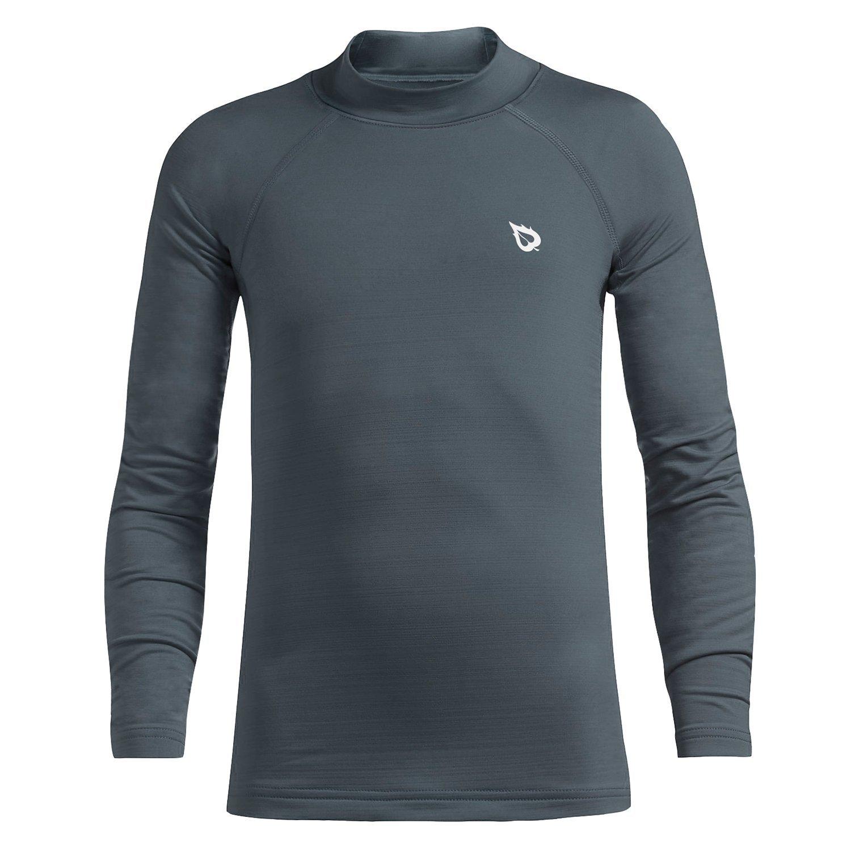 Baleaf Youth Boys' Compression Thermal Shirt Fleece Baselayer Long Sleeve Mock Top Gray Size M