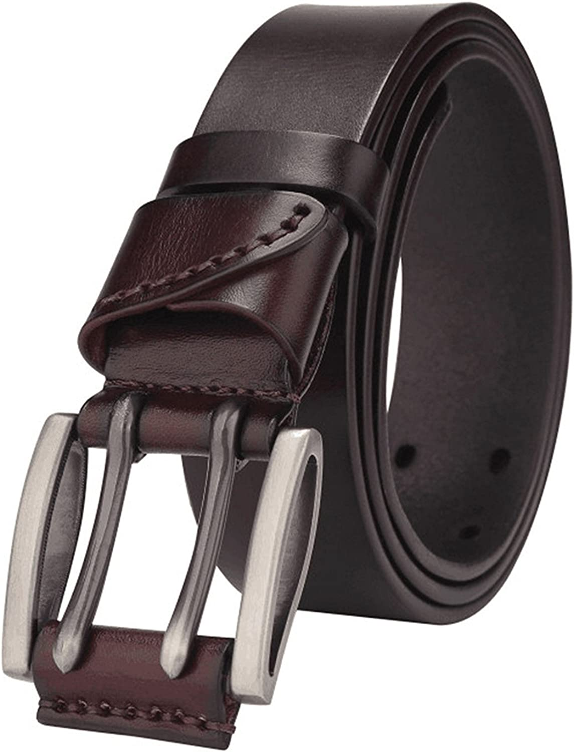 OnIn?Fashion Vintage double pin buckle genuine leather belt for men Casual jeans accessories