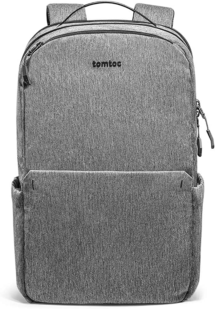 Travel Laptop Backpack, tomtoc Water Resistant College School Students Bookbag Computer Bag with USB Charging Port, Business Backpack Fits 15.6 Inch Laptop and Notebook for Women & Men, 24L, Gray
