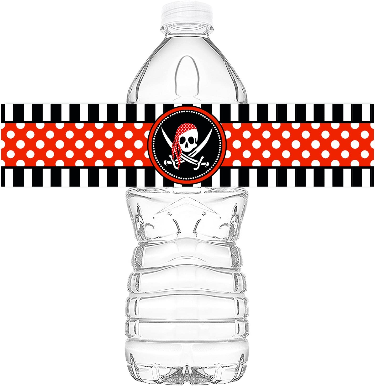 POP parties Pirate Bottle Wraps - 20 Pirate Water Bottle Labels - Pirate Decorations - Made in The USA