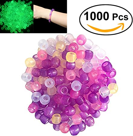 1000 UV Beads Color Magically Changing Glow UV Reactive Pony Clear Beads Plastic