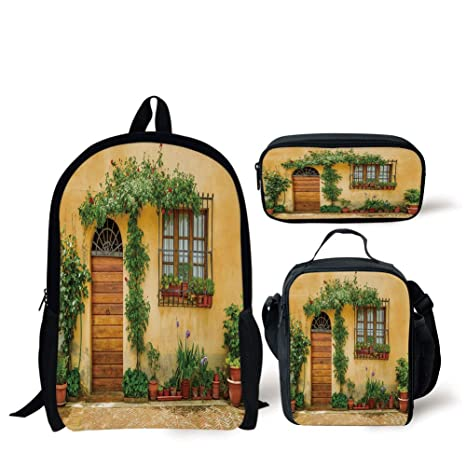 bef24b7c9d0a Amazon.com: School Lunch Pen,Italy,Porch with Different Flowers Pots ...