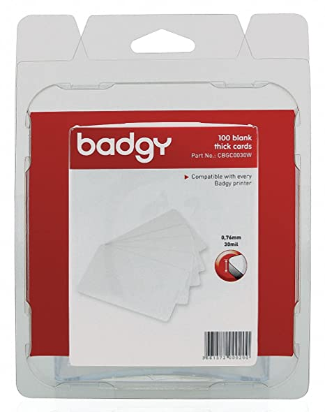 Intercard Pty LTD BADGY  - 100 X THICK PVC CARDS (0.76MM-30MIL)