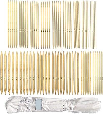 Anjing 80 Agujas de Tejer de bambú de Doble Punta con Estuche de Almacenamiento: Amazon.es: Hogar