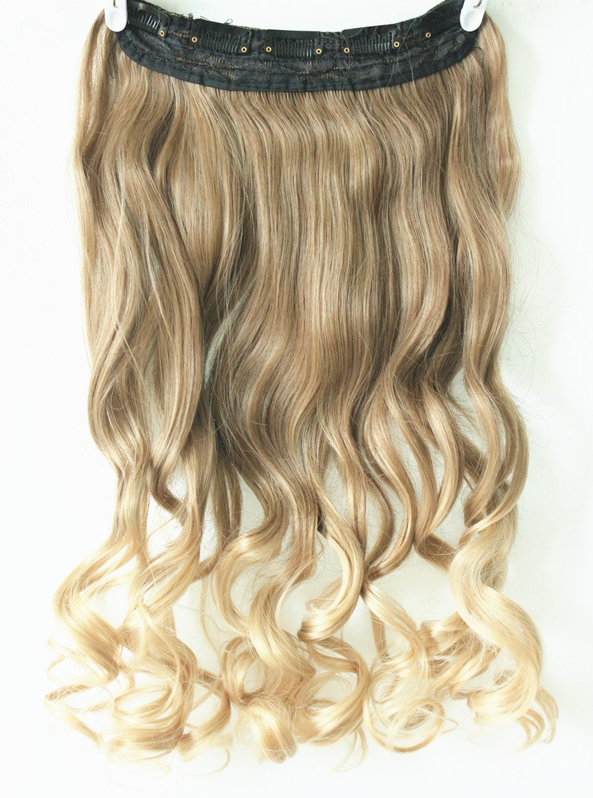 Amazon 34 full head clip in hair extensions ombre one piece amazon 34 full head clip in hair extensions ombre one piece 2 tones wavy curly light ash brown to sandy blonde beauty pmusecretfo Image collections