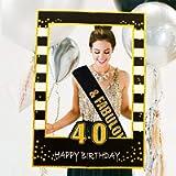 JeVenis Black Gold 40th Birthday Party Photo Booth Props 40th Birthday Photo Frame Birthday Photo Frame