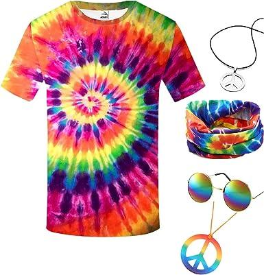 Forbeautiful Juego de Disfraz Hippie de los años 60, Camiseta ...