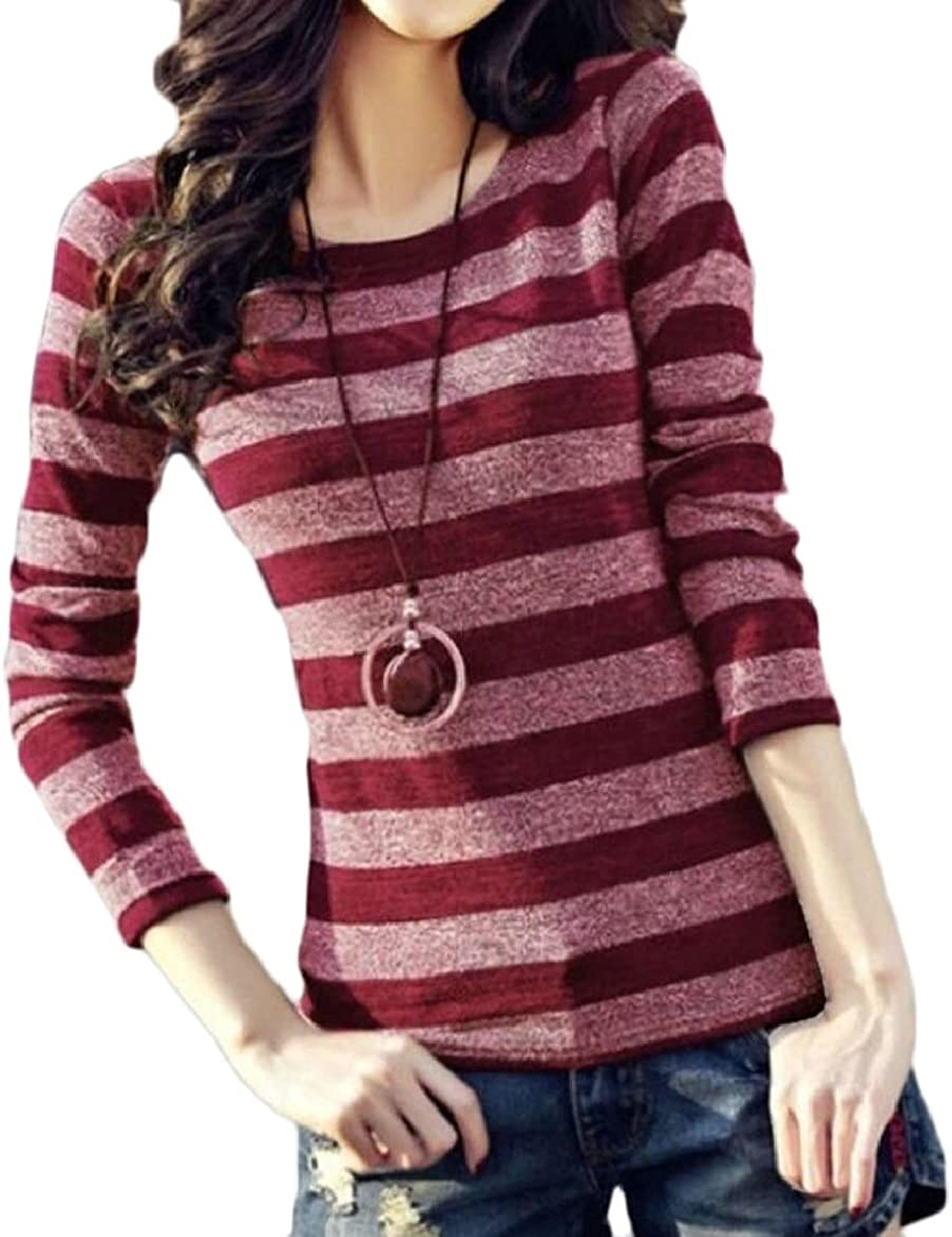 ONTBYB Womens Casual O Neck Stripes Long Sleeve T Shirts Blouses Tops