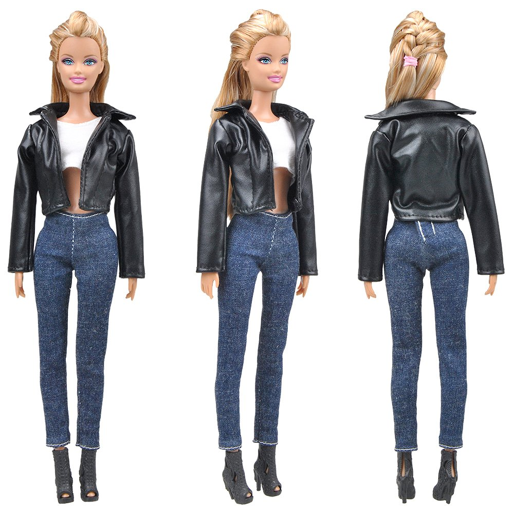 Biker Jacket+Sleeveless top+Jeans E-TING Leather Coat Suit Cool Wild Motorcycle Style Clothes for Girl Dolls Doll /& Shoes Not Included