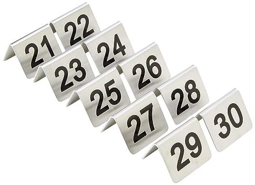Nextday Catering u048 mesa números, juego de 10, 21 – 30, acero inoxidable (Pack de 10): Amazon.es: Industria, empresas y ciencia