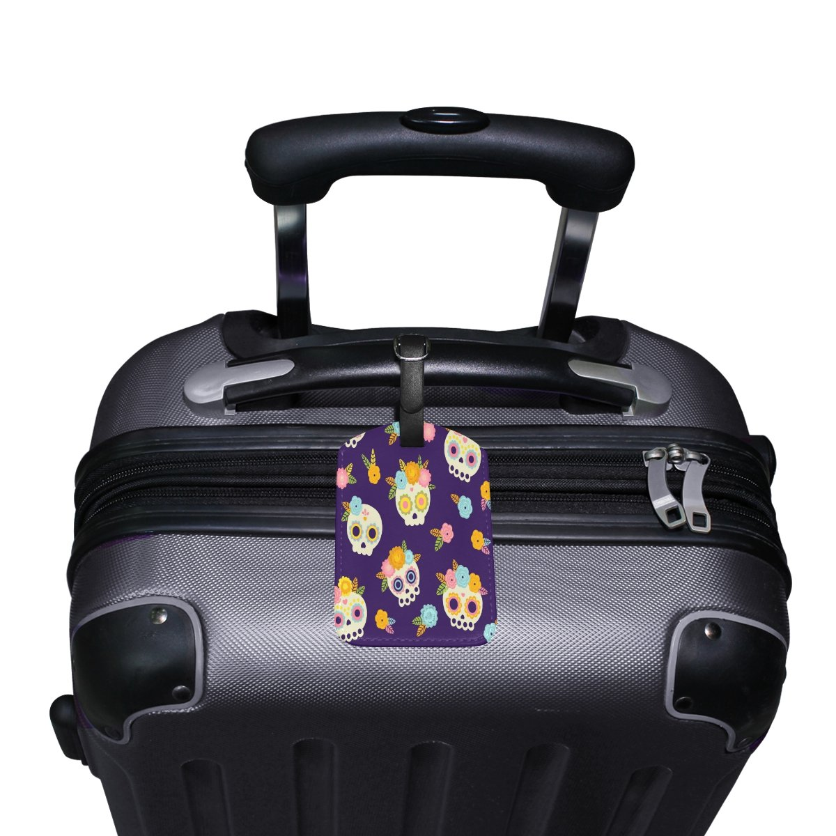 Saobao Travel Luggage Tag Skulls With Flowers PU Leather Baggage Travel ID