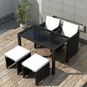 Tidyard Conjunto Muebles de Jardín de Ratán 11 Piezas con Taburetes Sofa Jardin Exterior Sofas Exterior Ratan Conjunto Jardin para Jardín Terraza Patio en Poli Ratán Negro: Amazon.es: Hogar
