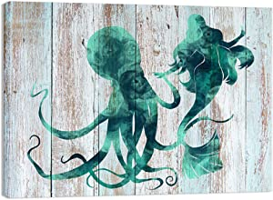 Visual Art Decor Ocean Coastal Canvas Wall Art Prints Abstract Mermaid Dance with Octopus Painting on Teal Green Background Gallery Decor Home Office Wall Decoration (01 Mermaid, 24x32)
