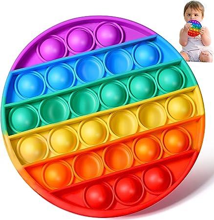 SHARLOVY Rainbow Pop Its Fidget Toys Push Pop Fidget Toy Sensory Popitz Fidget Toy Poppers for Toddler Kids Toys Figet Figetget Toys Pop It Game Round