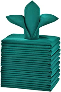 Cieltown Polyester Cloth Napkins 1-Dozen, Solid Washable Fabric Napkins Set of 12, Perfect for Weddings, Parties, Holiday Dinner (17 x 17-Inch, Hunter Green)