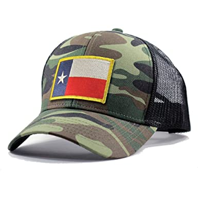 Amazon.com  Homeland Tees Men s Texas Flag Patch Army Camo Trucker ... a7ad7ca7267