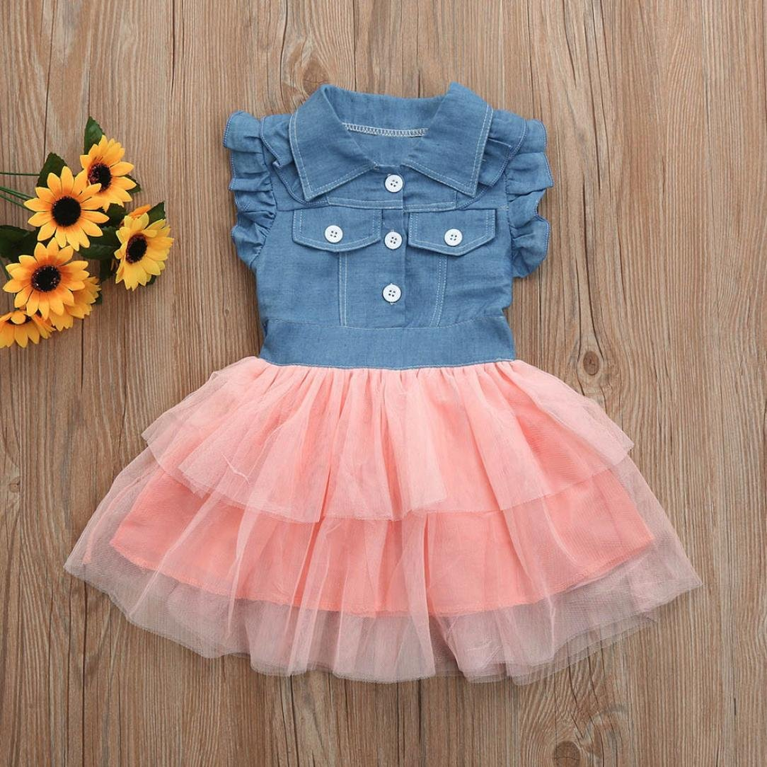 Staron Toddler Kids Denim Dress Clothes Summer Princess Tutu Dress Cowboy Outfits
