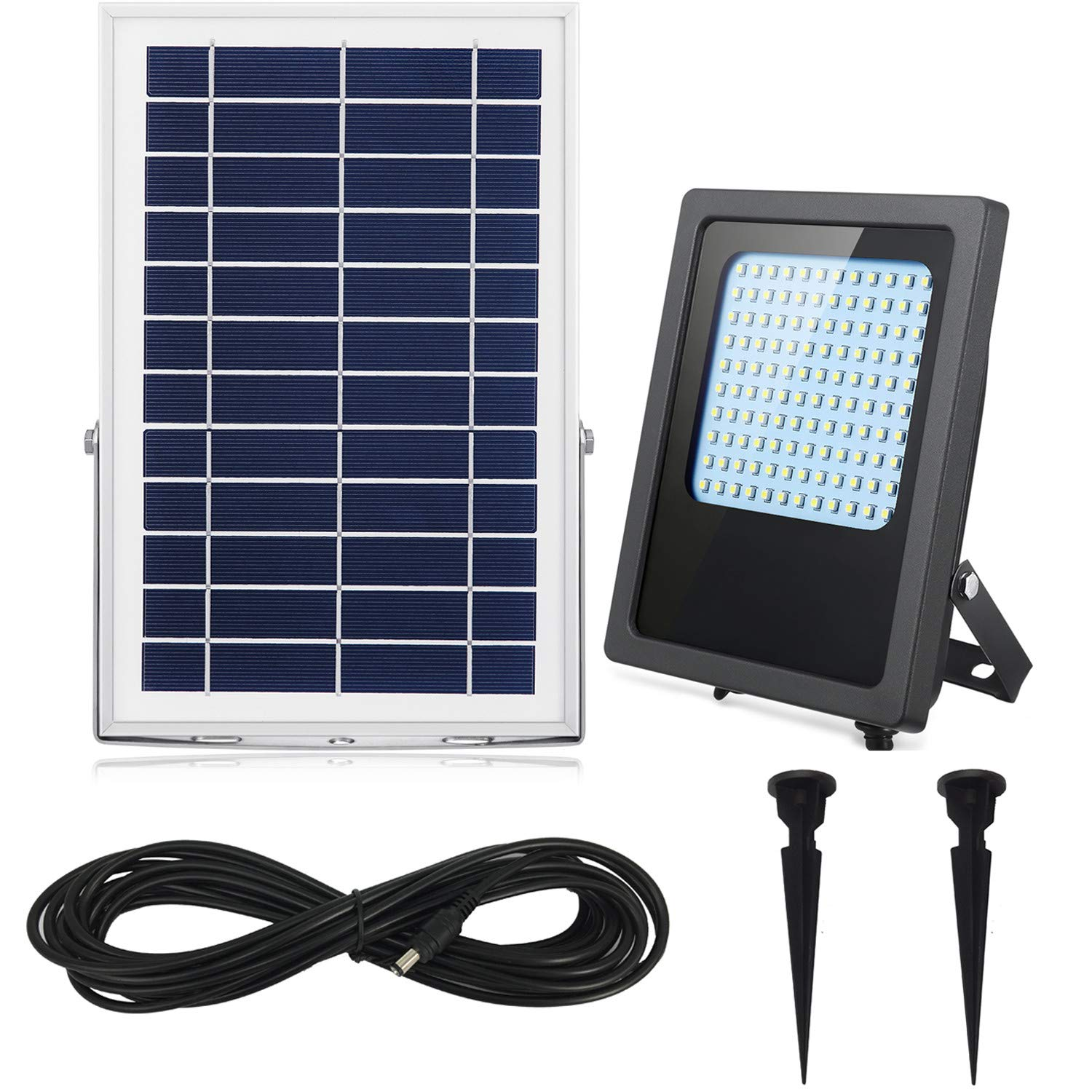 Solar Flood Lights Outdoor Dusk to Dawn 120Leds 1000Lumen Rechargeable Solar Powered Led Security Light IP65 Waterproof Auto On/Off for Garden,Landscape,Yard,Porch,Patio,Garage,Pool,Sign,Billboard (W