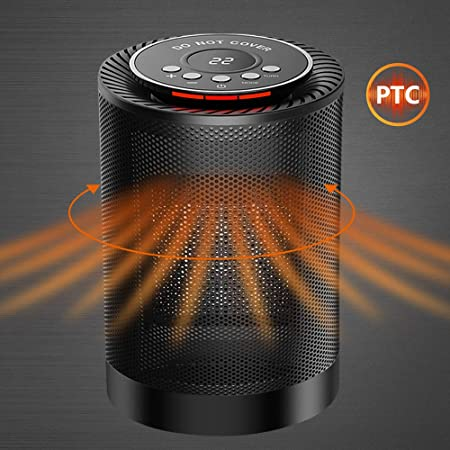 SENDOW Portable Electric Space Heater, 1200W PTC Ceramic Heater Fan with Adjustable Thermostat Overheat Tip-Over Protection Auto Oscillation