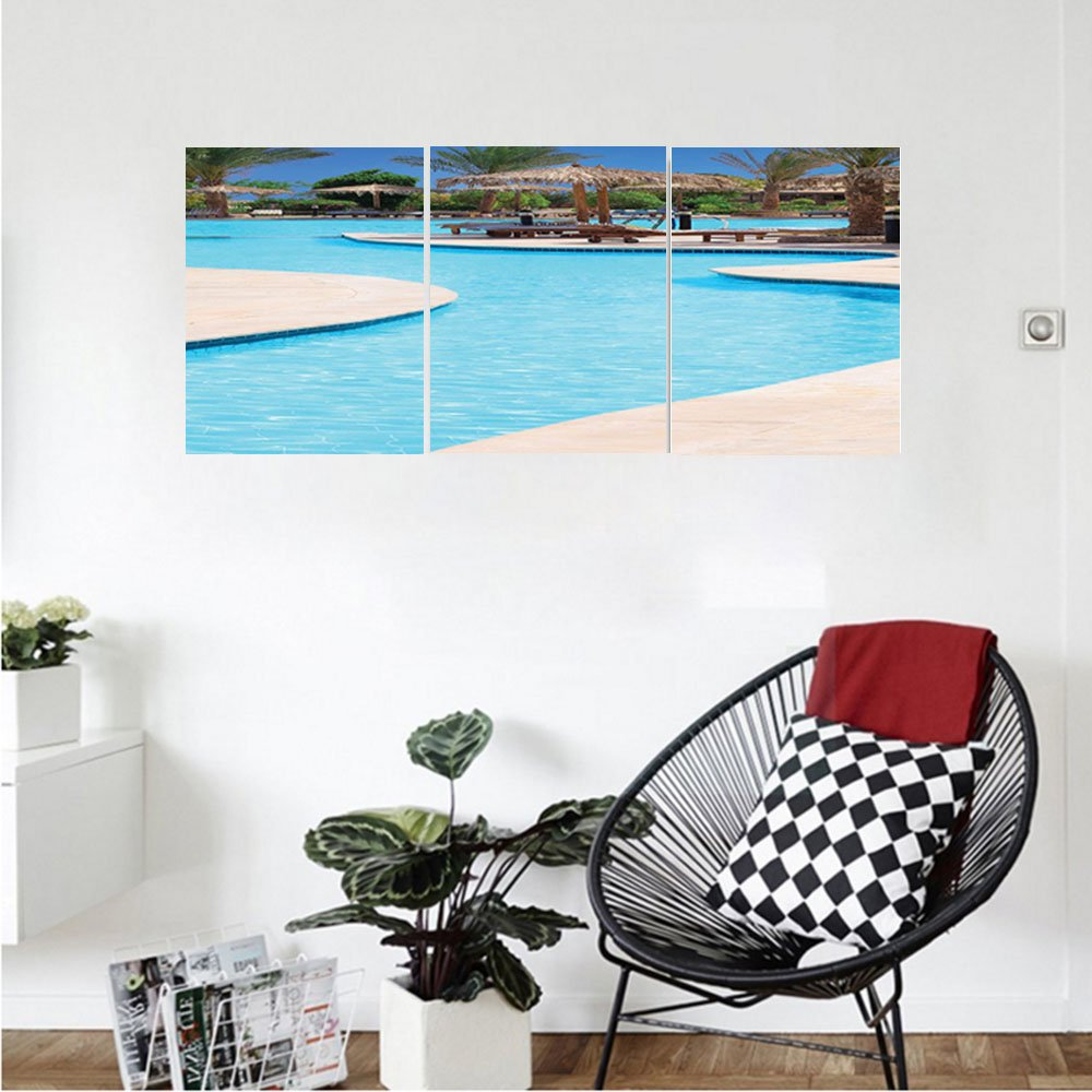 Liguo88 Custom canvas House Decor Collection Swimming Pool Of Luxury Hotel resort holiday Relaxation Tourism Tourist Attractions Bedroom Living Room Wall Hanging