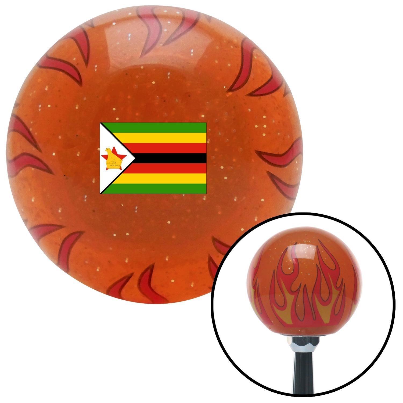 Zimbabwe Orange Flame Metal Flake with M16 x 1.5 Insert American Shifter 310909 Shift Knob