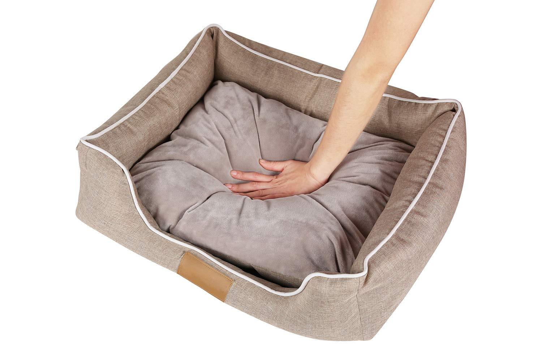 HEOYSN Cómodo Casa para Mascotas, Cama para Perro Lavable con Almohadas de Felpa Reversibles 55 x 45 x 16cm: Amazon.es: Productos para mascotas
