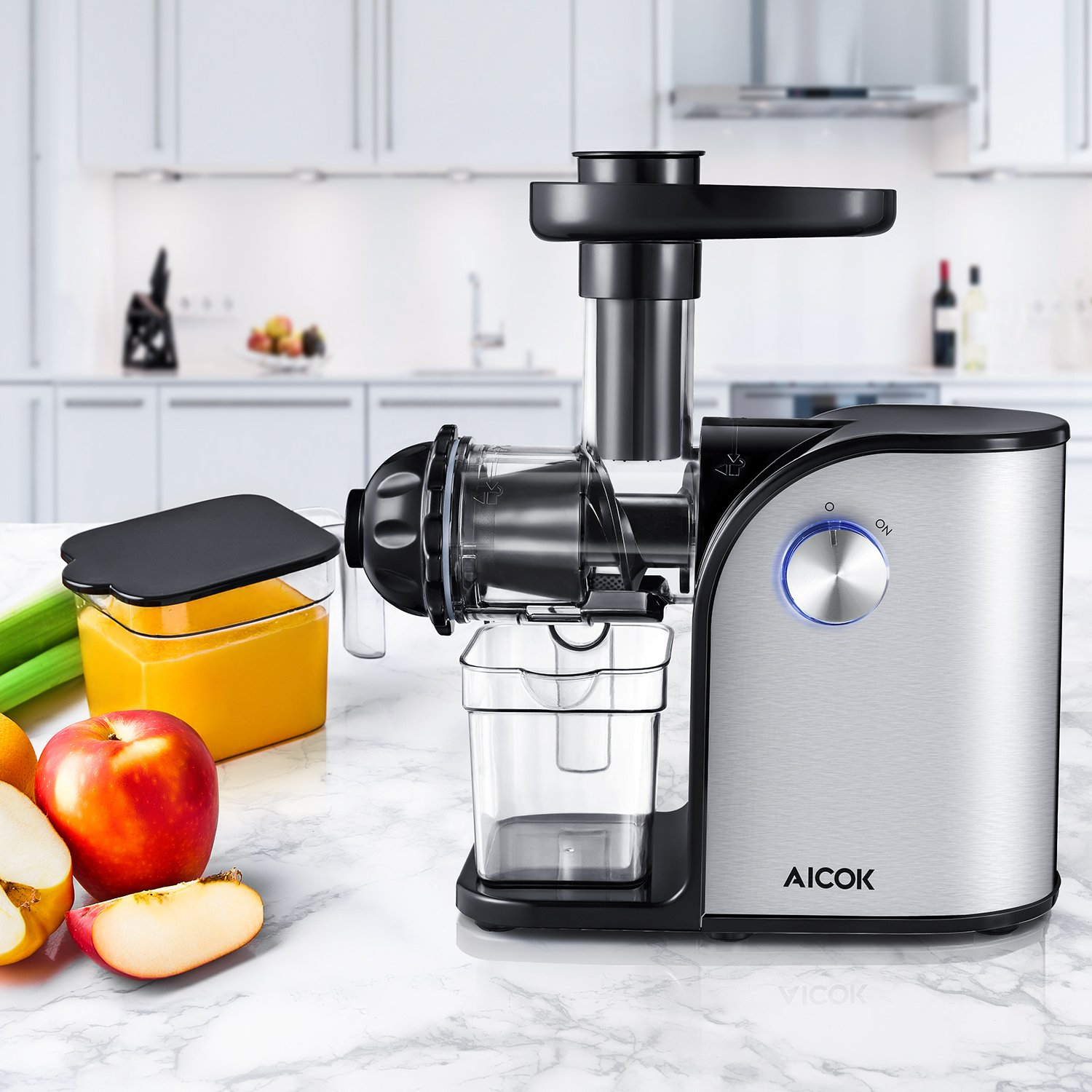Aicok Slow Masticating juicer, Cold Press Juice Extractor, Stainless Steel, Quiet Motor, High Nutrient Fruit and Vegetable Juice, Black by AICOK (Image #5)