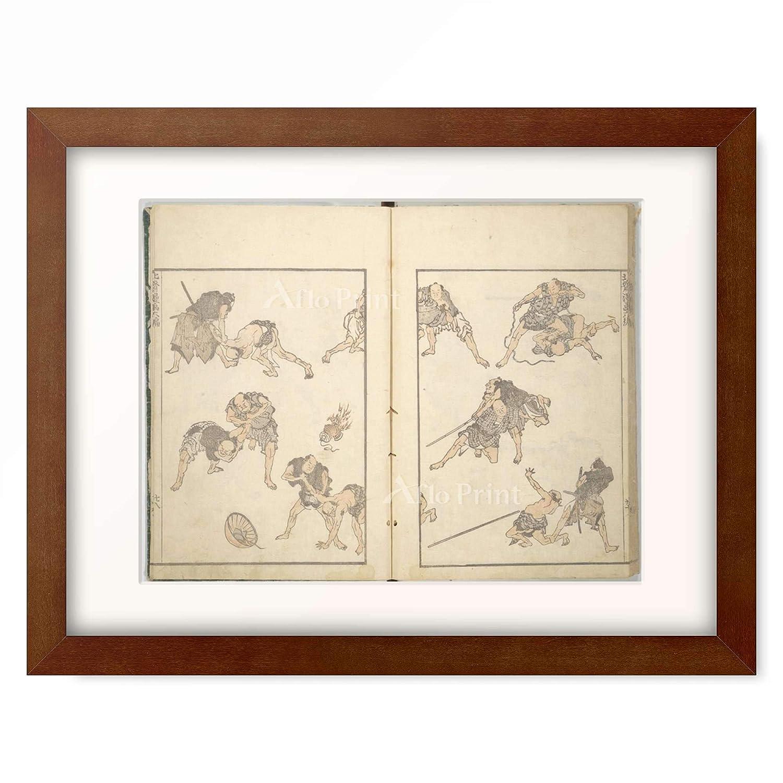葛飾北斎 Katsushika Hokusai 「北斎漫画 六編」 額装アート作品 M(額内寸 379mm×288mm) 05.木製額 22mm(ブラウン) B07PTQCDMP