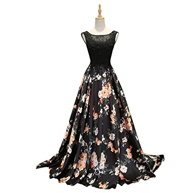 Yikaya Womens A Line Prom Dresses Floral Printed Black Lace Girls Prom Party