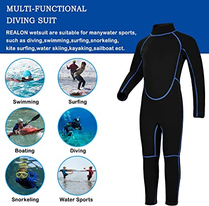 REALON Shorty Wetsuit Kids 3mm Boys Surfing Suit 2mm Child Swimwear Girls Snorkeling Diving Suits